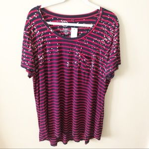 NWT! Striped Plus T-Shirt with Splatter Design